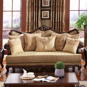 Carved Wood Trim Sofa Antique Home Fabric Couch for Living Room pictures & photos
