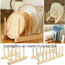 Solid Friendly Wood Bamboo Disk Plate Rack for Home Furniture
