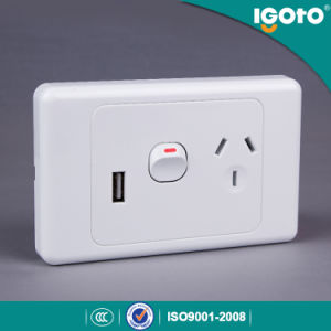 SAA Approval Australian Standard Electric Double Power Points Electrical Wall Switch with USB Socket pictures & photos