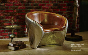Aluminum Base Disdressed Vintage Leather Armchair for Hotel pictures & photos