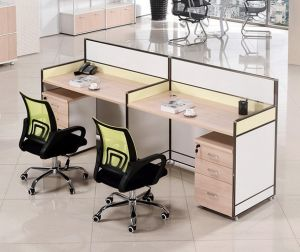 2 Seats Straight Desk Workstation Cluster Staff Office Partition (HX-NCD086) pictures & photos