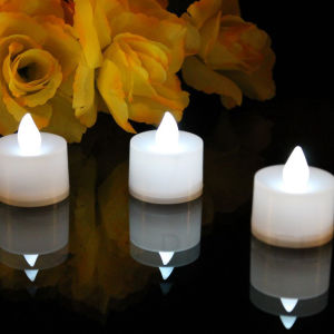 Battery Powered White Electric Flame Tea Light Candle Plastic Shell pictures & photos
