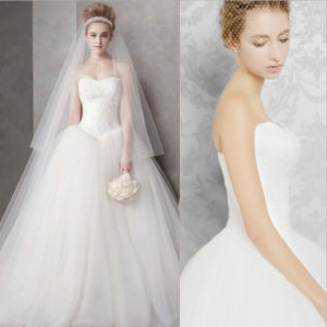 Strapless Ball Gown Tulle Pure Bridal Dress pictures & photos