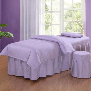 Bedding Set Single Cotton 30mm Stripe White SPA Bed Set Linens pictures & photos