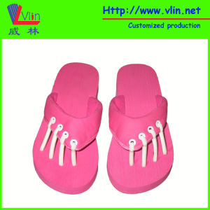 Separated Toe EVA Flip Flop with Leather Strap