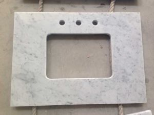 Polished Carrara White Marble Vanity Top for Bathroom pictures & photos
