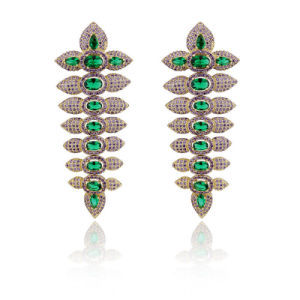 Brazil Hot Sale Long Design Women Semi Joias Fashion Micro Pave Earrings pictures & photos
