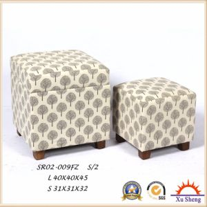 Home Furniture Wooden Set Tufted Button Footstool Ottoman in Fabric Print pictures & photos