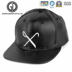 2016 Fashion Design Black PU Leather Debossed Pattern Snapback pictures & photos