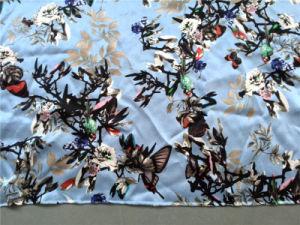19m/M Silk Satin Print in Flowers Birds Design pictures & photos