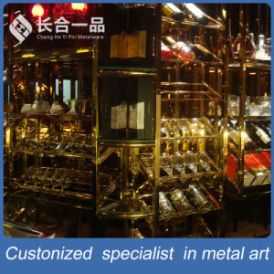 Hotsale Stainless Steel Silver Wine Display Rack for Bar/Club pictures & photos