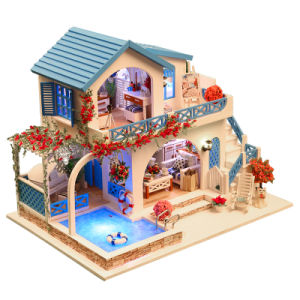 Low MOQ Children Toy Wooden Doll House DIY pictures & photos