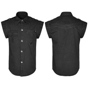 Black Two Pockets Short Sleeves Men Denim Shirts (Y-762) pictures & photos
