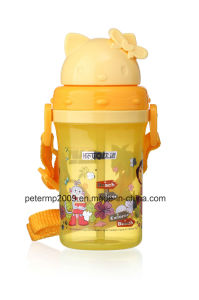 300ml Wholesale High Quality Cartoon Sports Bottle Plastic with Straw, Lid with Cat′s Look pictures & photos
