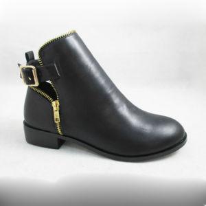 Zipper Trim PU Lady Ankle Boot