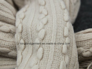 100% Acrylic Fashion Beige Striped & Buddled Warp Knitted Scarf with Fringe pictures & photos