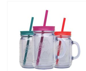 450ml Single Wall Plastic Mason Jars with Handle and Straw Lid pictures & photos