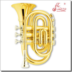 Golden Lacquered Bb Key Pocket Trumpet/Mini Trumpet pictures & photos