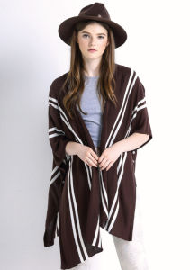 Lady Striped Pattern Fashion Cotton Knitted Cardigan Sweater Shawl (YKY2029) pictures & photos