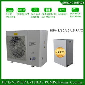 Denmark -25c Winter Floor Heating 100~350sq Meter Room12kw/19kw/35kw Auto-Defrostcop Evi Air Source Split Heat Pump Water Heater pictures & photos