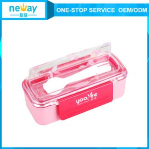 New Arrival Eco-Friendly Plastic Lunch Box with Lid and Spoon pictures & photos