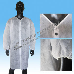 Disposable Nonwoven PP Lab Coat Medical Clothes, Dust Coat with Elastic Cuff pictures & photos