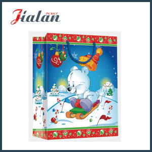 Glossy Laminated Ivory Paper Cartoon Christmas Packing Gift Paper Bag pictures & photos