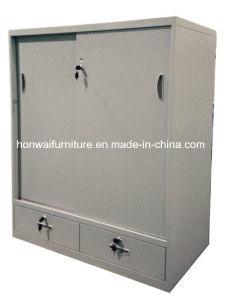 High Quality Steel Sliding Doors Cabinet with 2 Drawers