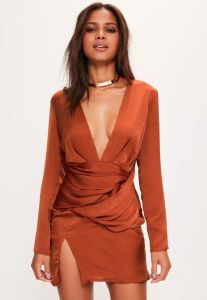Orange Silky Long Sleeve Panelled Evening Dress pictures & photos