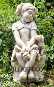 MGO Bih Garden Child Sculpture Sitting Girl Statue Garden Statues