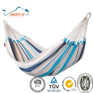 Portable Single Camping Hammock with Hanging Strap and Durable Cotton