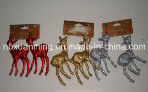 2 Pk Glitter Christmas Deer (XM-C-1015) Christmas Ornament
