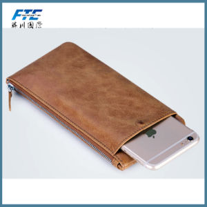 OEM Color Cross Pattern Long Thin Wallet Leather with Zipper pictures & photos