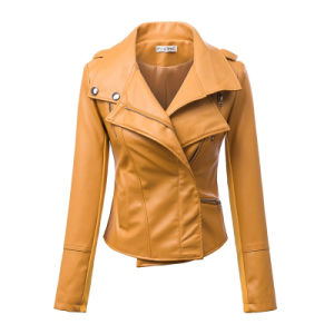 2015 New Arrival Zippered Faux Leather Moto Jacket pictures & photos