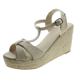 White Hemp Rope High Heel Sandal for Ladies