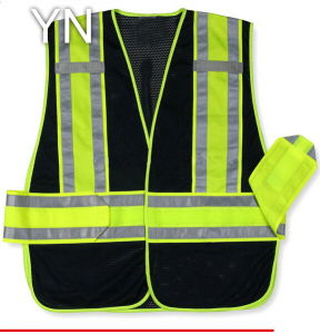Black Reflective Safety Vest for Work pictures & photos