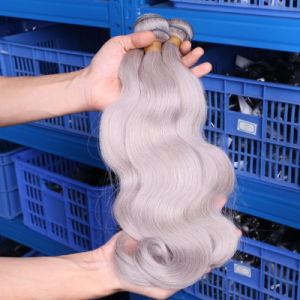 Silver Grey/Gray Brazilian Body Wave Hair Weave Bundles Brazilian Remy Human Hair Extensions 7A Remy Grey Hair Weave, Can Be Dyed pictures & photos