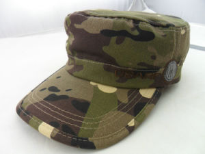 Custom High Quality Camouflage Flat Military Cap pictures & photos