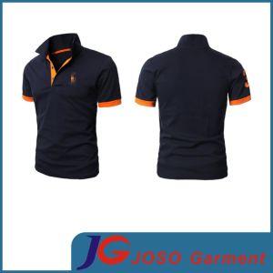 Men Black Polo Neck Cotton Shirt Top Garment (JS9010m) pictures & photos