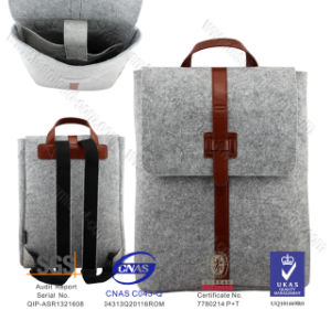 New Design Trend Felt Grey Stylish Elegant Fashion Backpack for Ladies pictures & photos