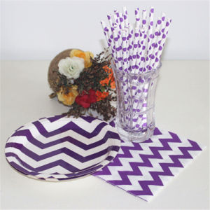 Eco-Friendly High Quality Purple and White Printing Striped Paper Straw pictures & photos