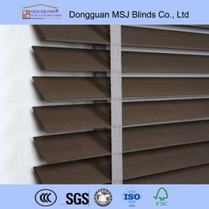 Ladder Tape Cord Control High Profile Metal Head Rail Wood Window Blinds pictures & photos