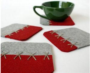 Factory Wholesale Customized Polyester Felt Wine Cup Slipper, Felt Cup Mat, Felt Coaster