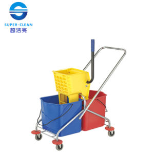 60L Side-Press Double Mop Wringer Trolley Bucket (B-043) pictures & photos