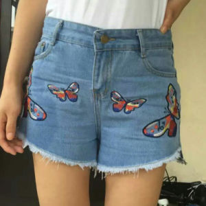 Fashion Brand Stretch Emb Lady Jeans Shorts pictures & photos