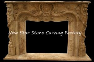 Indoor Round Marble Fireplace Gas Fired Decorative Marble Fireplace Surround pictures & photos
