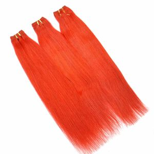 Red Color Silk Straight Human Hair Weft pictures & photos