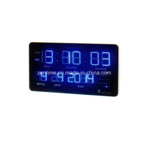 Radio Controlled Blue LED Digital Wall Time and Calendar Clock pictures & photos