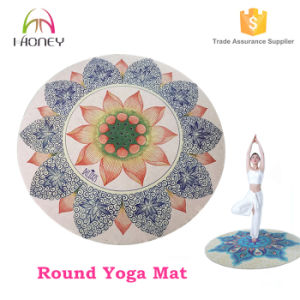 Custom Eco Friendly Digital Printed Lotus Printing Round Yoga Mat pictures & photos