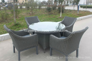 5 Pieces Round Table Arm Chairs Wicker Furniture Dining Set pictures & photos